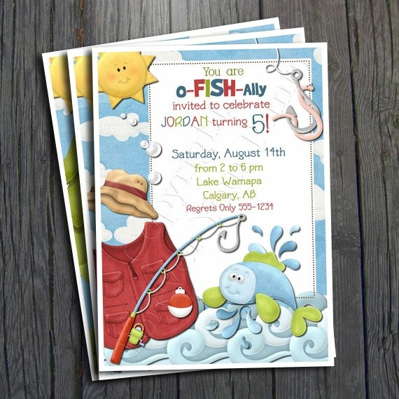 Fish birthday invitation free thank you card by for Fishing birthday party invitations