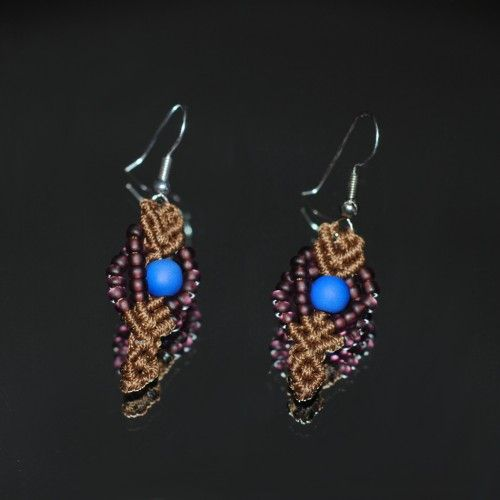 Handmade macrame Earrings, Waxed brown thread, Purple beads, Electric blue bead (center) http://reignofknots.com/index.php?route=product/category&path=24