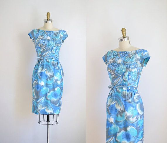 1960s Wiggle Dress / 60s Floral Cocktail Dress by FemaleHysteria