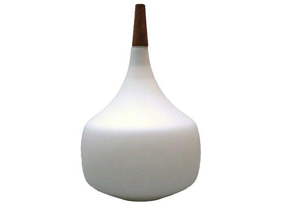 Vintage Danish MCM teak ceiling lamp Wood and glass globe