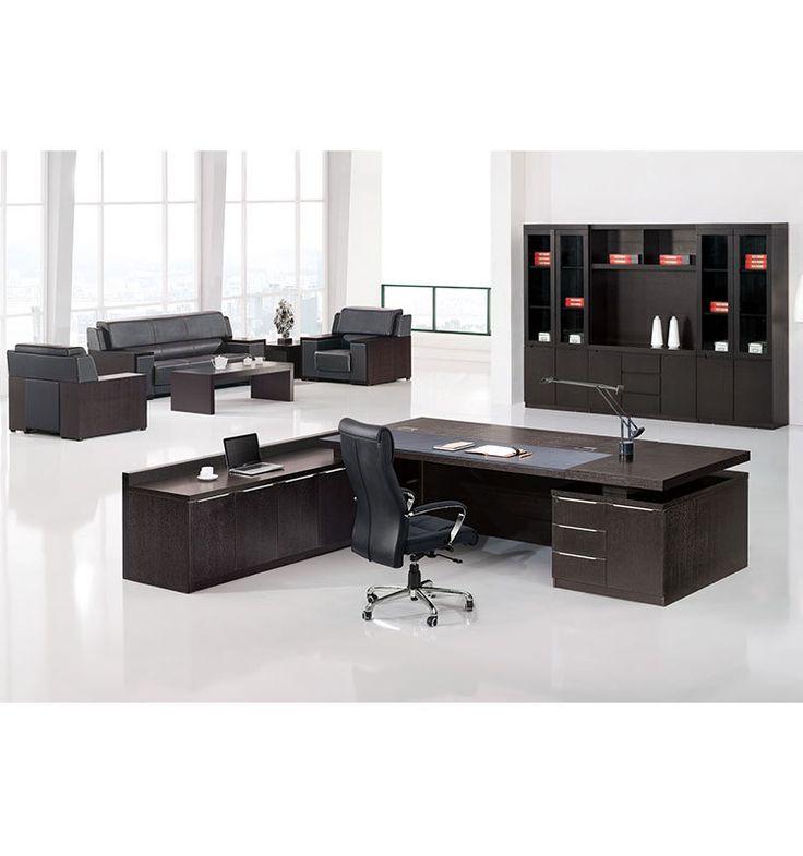 Emboss Oak Executive Wooden Office Desk