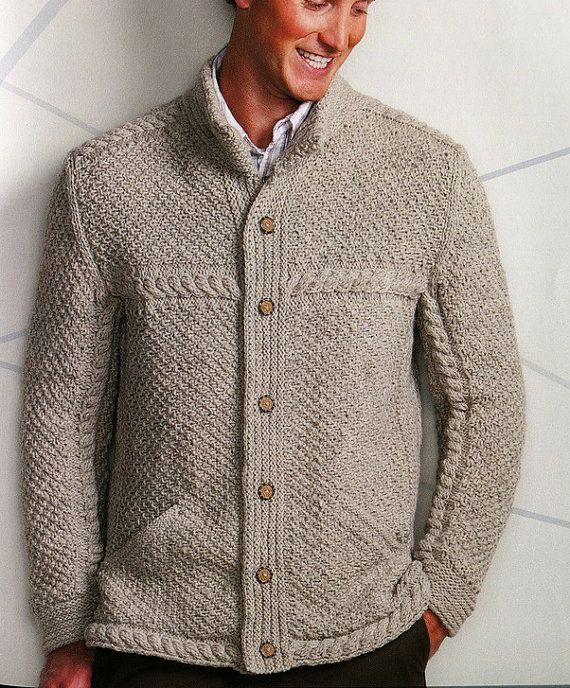Men's hand knit cardigan turtleneck sweater cardigan men clothing wool handmade men's knitting aran cabled crewneck