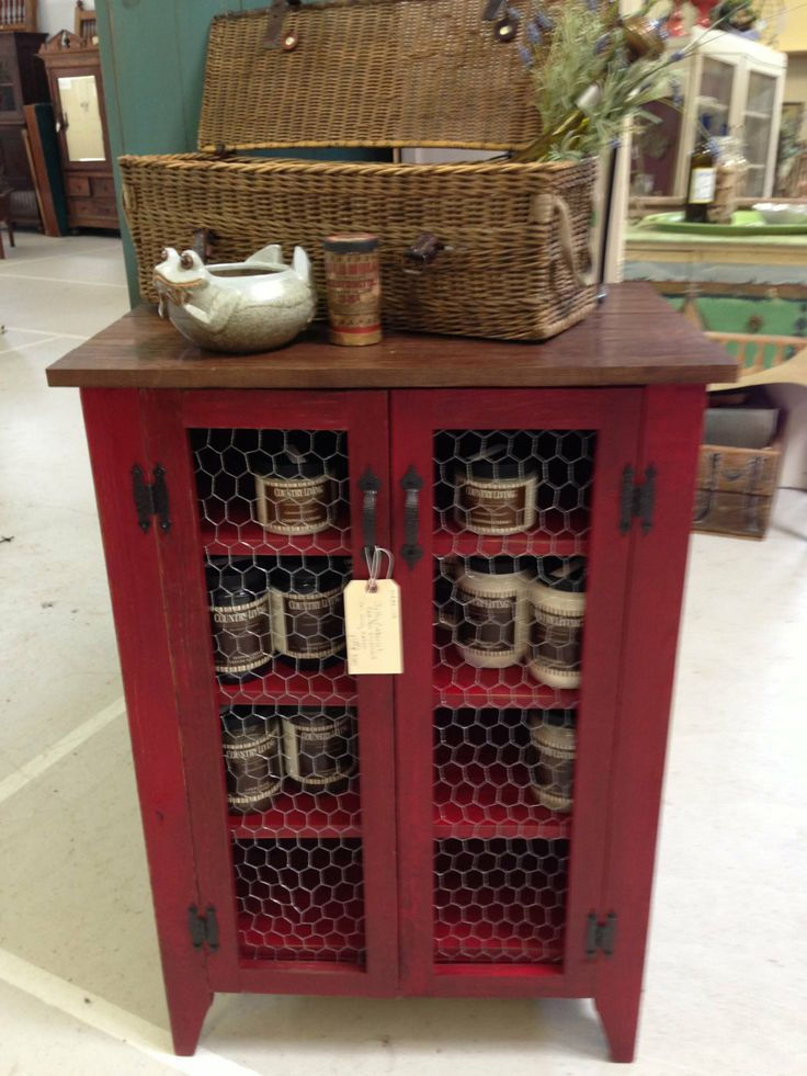 Jelly cabinet in barn red with stained top by for Chicken wire kitchen cabinets
