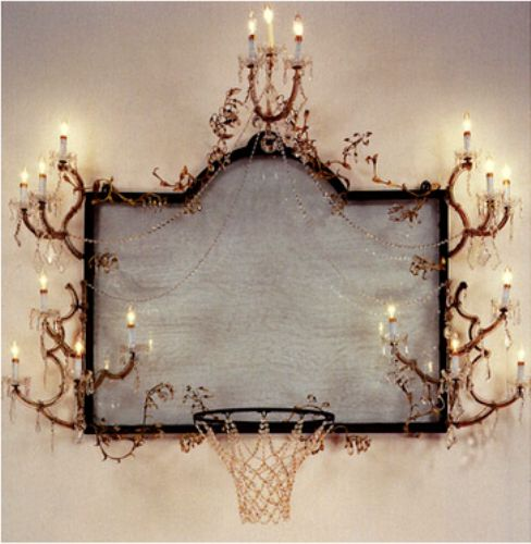 basketball hoop adorned with crystal  pendants and a mirror back by  David Hammons