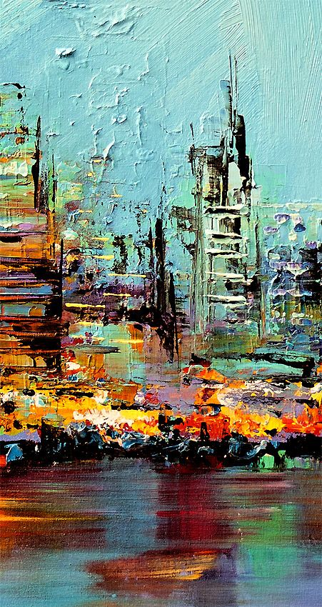 pallet knife-future city... This one merits much attention! The vagueness betrays an instantly recognized and confirmed perspective of Man's future social fabric in the form of its dwellings! What really is it that we associate with a more advanced civilization? The sharp, slender heights? Defiance of gravity? If so, then we've always had them within if not the means thereof? What is it we want?