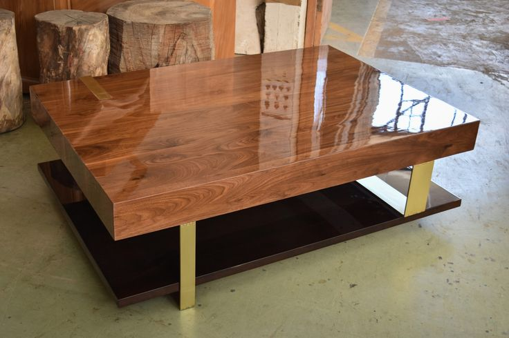 Custom design Coffee Table in Prime Walnut with brass detail