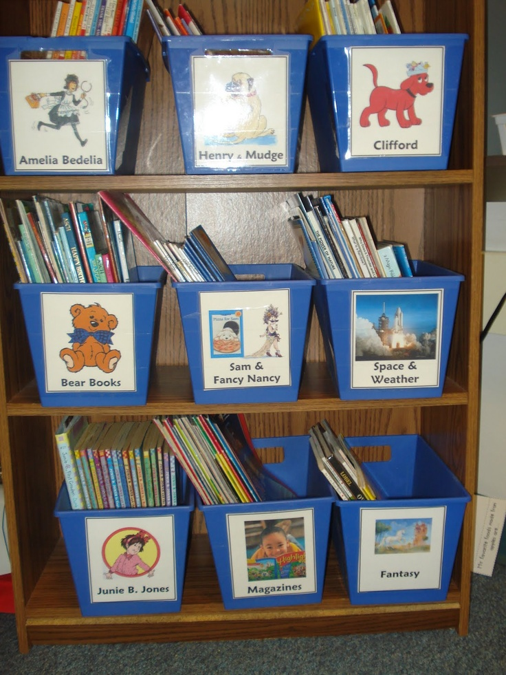 Great Classroom Decor ~ Bookshelf with multiple bins arranged pictures on the