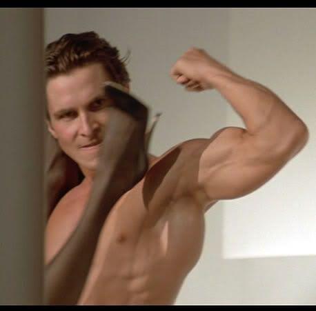 Image result for Christian Bale American Psycho bedroom scene