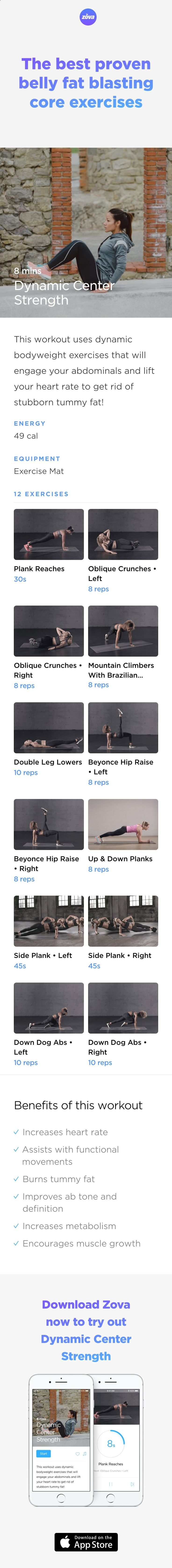 Torch that stubborn belly fat fast with this blend of dynamic strength exercises. They will increase your heart rate and burn fat faster than your standard static exercises, and you'll also be defining and sculpting your abs, not to mention flattening your tummy at the same time! #workout #core #fitness #abs #HIIT