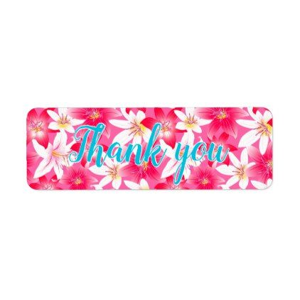 White and pink hibiscus floral label - pattern sample design template diy cyo customize