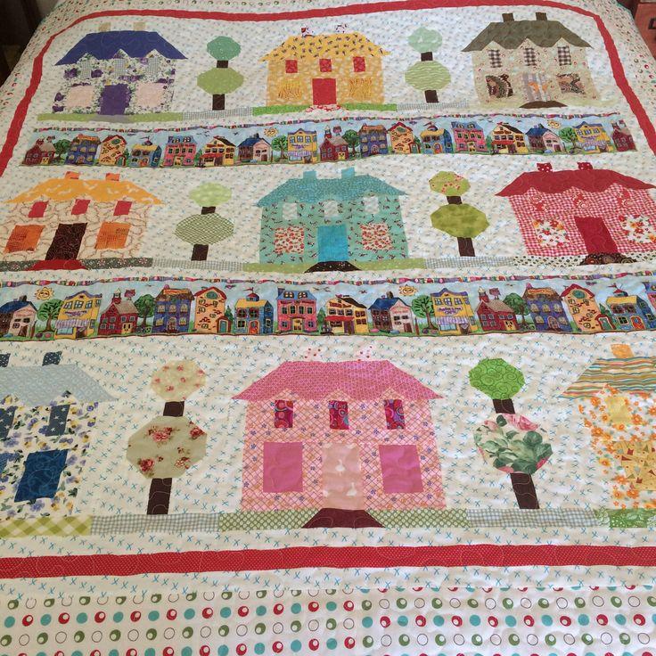 """Scrappy Farmhouse Quilt//67""""X70""""//twin bed quilt//lap quilt//porch quilt//Lori Holt  VintageFarmhouse pattern//Vintage Farm Girl pattern// by OldGalsGarage on Etsy"""