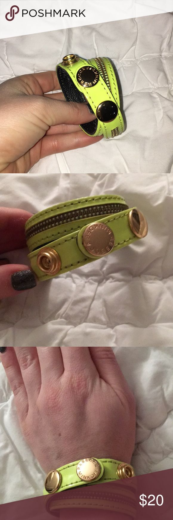 Rebecca Minkoff adjustable neon bracelet Super fun Neon green zipper bracelet with gold hardware. Adjustable. Rebecca Minkoff Jewelry Bracelets