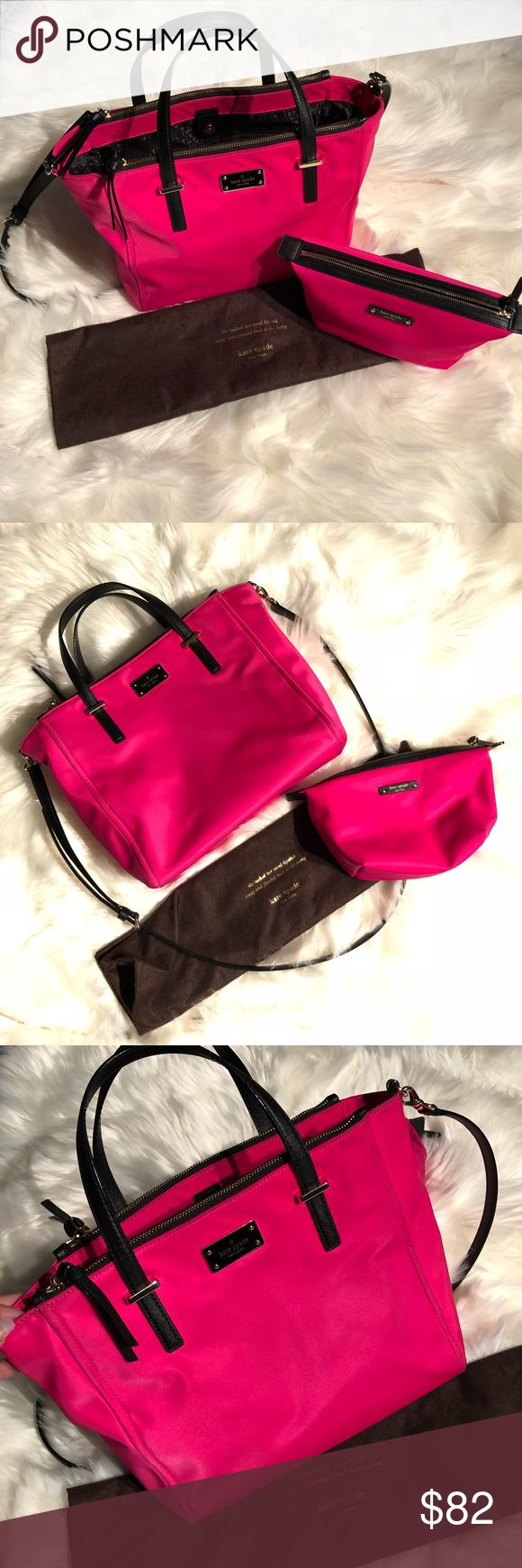 🔥ONE DAY SALE 💵 firm Kate Spade Pink Bag & Case Kate Spade Hot Pink Nylon Bag & Cosmetic Case  Preowned, excellent condition. Very minimal corner wear; nylon can be cleaned easily.   Dust bag also included!  From smoke free home :) kate spade Bags