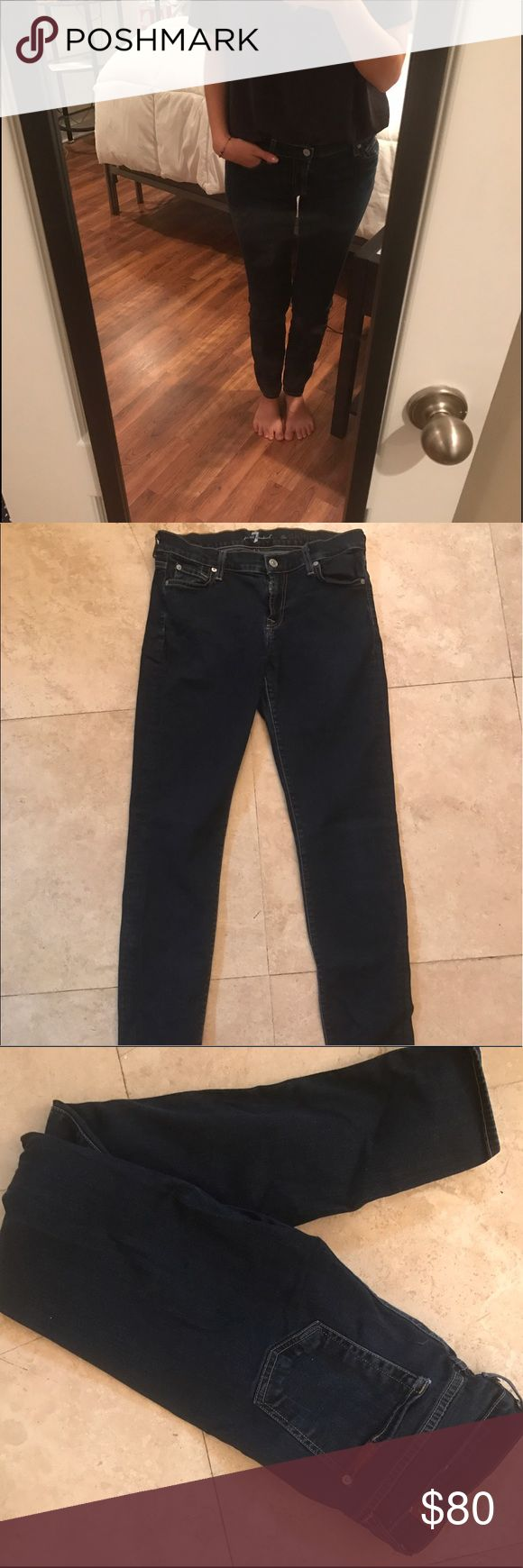 """7 for all Mankind Skinny Jeans 7 For All Mankind """"The Skinny"""" Jeans. In great condition! I don't remember the exact color they are but I think they're in """"Rinsed Indigo"""" 7 For All Mankind Jeans Skinny"""