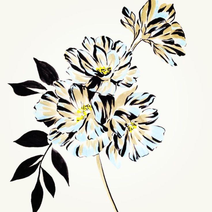 Graphic flowers #hah #pens #textilesdesign #floral #print #pattern #flowers #heidiandhallbery