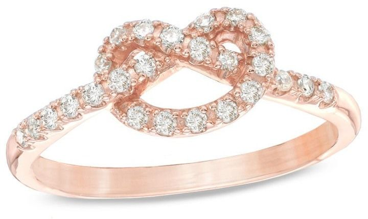 Zales 1/5 CT. T.W. Diamond Heart-Shaped Knot Promise Ring in 10K Rose Gold