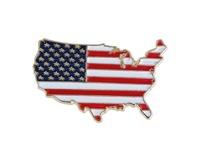 United States Patriotic Lapel Pin Outline American Flag Gold Tone Enamel 5 Pack #Forge