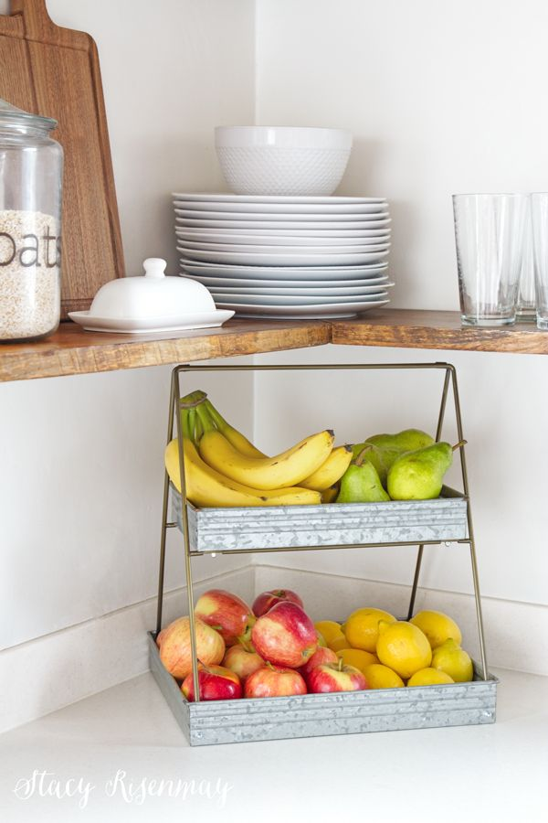 Metal tiered tray for fruit! I love this idea to keep them separated and not smushed.  #Sponsored