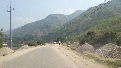 A drive through a road in uvira town in congo.the foot of mitumba mountains.absolutely incredible.