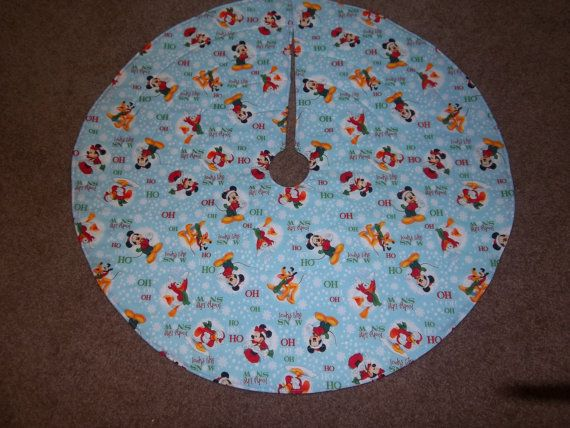 Handmade Quilted Mickey Mouse Tree Skirt With Reversible Side Red White Polka Dots