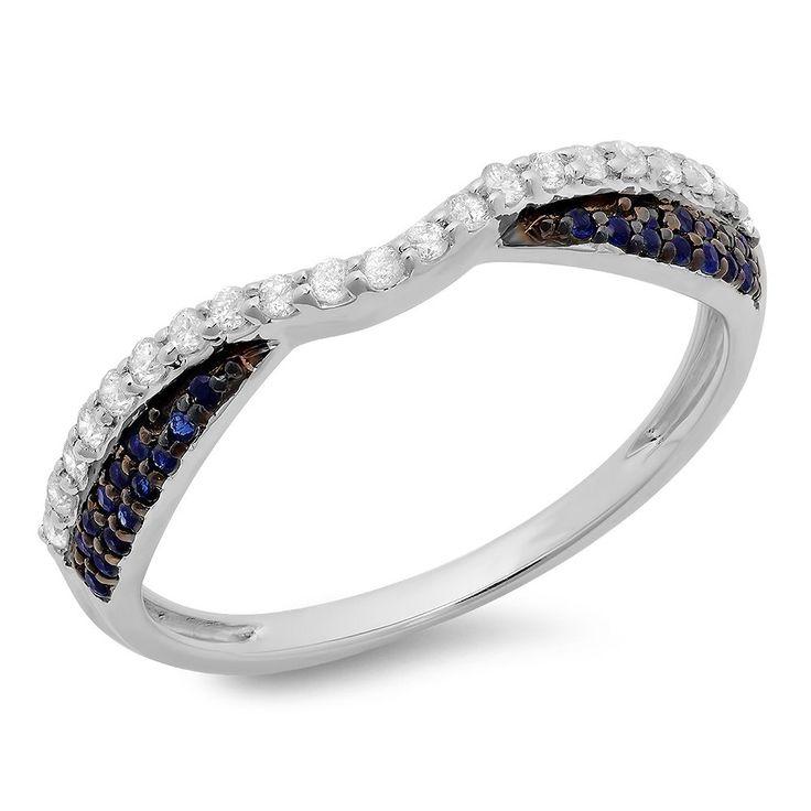 sapphire wedding anniversary invitations%0A Elora   k Gold    ct TGW Blue Sapphire and White Diamond Anniversary Wedding  Ring  HI  I I    Yellow Gold  Size      Women u    s   White diamonds   Sapphire