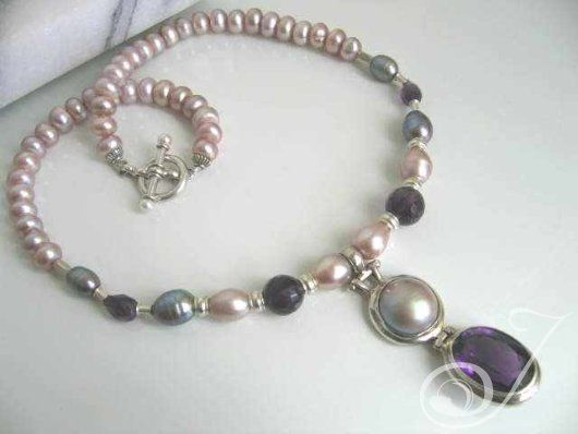 Large Amethyst and Pink Pearl Necklace – Pearl Jewellery