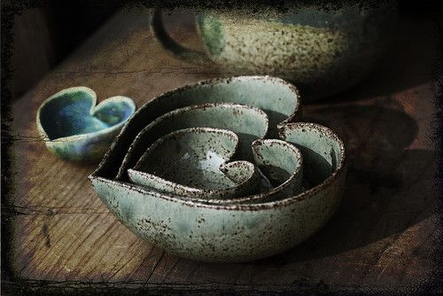 Heart shaped ceramic bowls