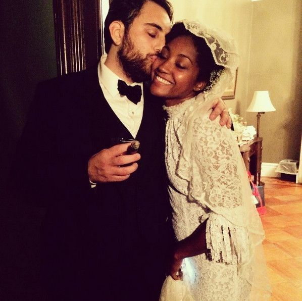 Inside stylist Solange Franklin's Brooklyn wedding with a Southern twist: The bride wore vintage jewellery borrowed from her mother. Her make-up artist friend Grace Ahn and hair-stylist pal Jawara Wauchope looked after Franklin's beauty look. Image credit: Instagram.com/samirafranklin