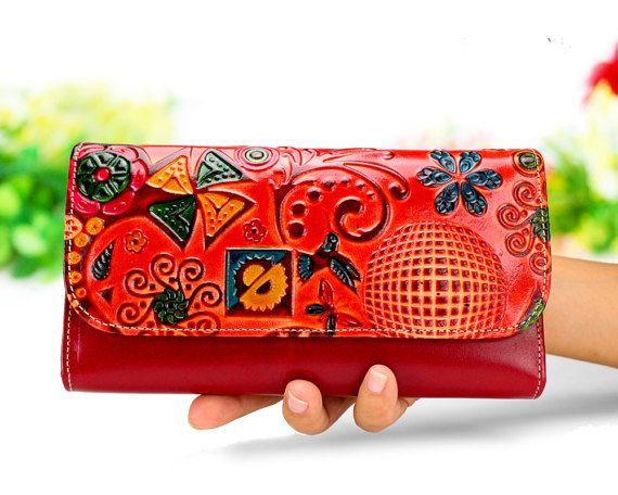 Bifold Wallet Bird Wallet Modern Wallet Hand painted