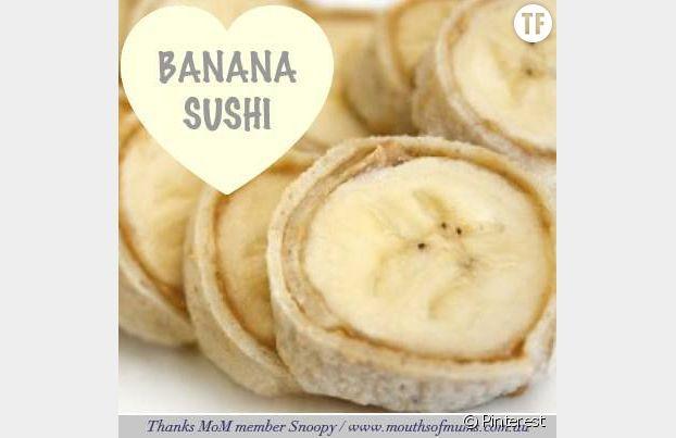Banane sushi saveur beurre de cacahuète