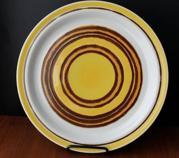 Mid Century Modern Platter Mad Men Dinnerware Large Plate Baycrest Stoneware Aurora Lareg Plate Yellow Brown Plates Sunshine Retro Kitchen