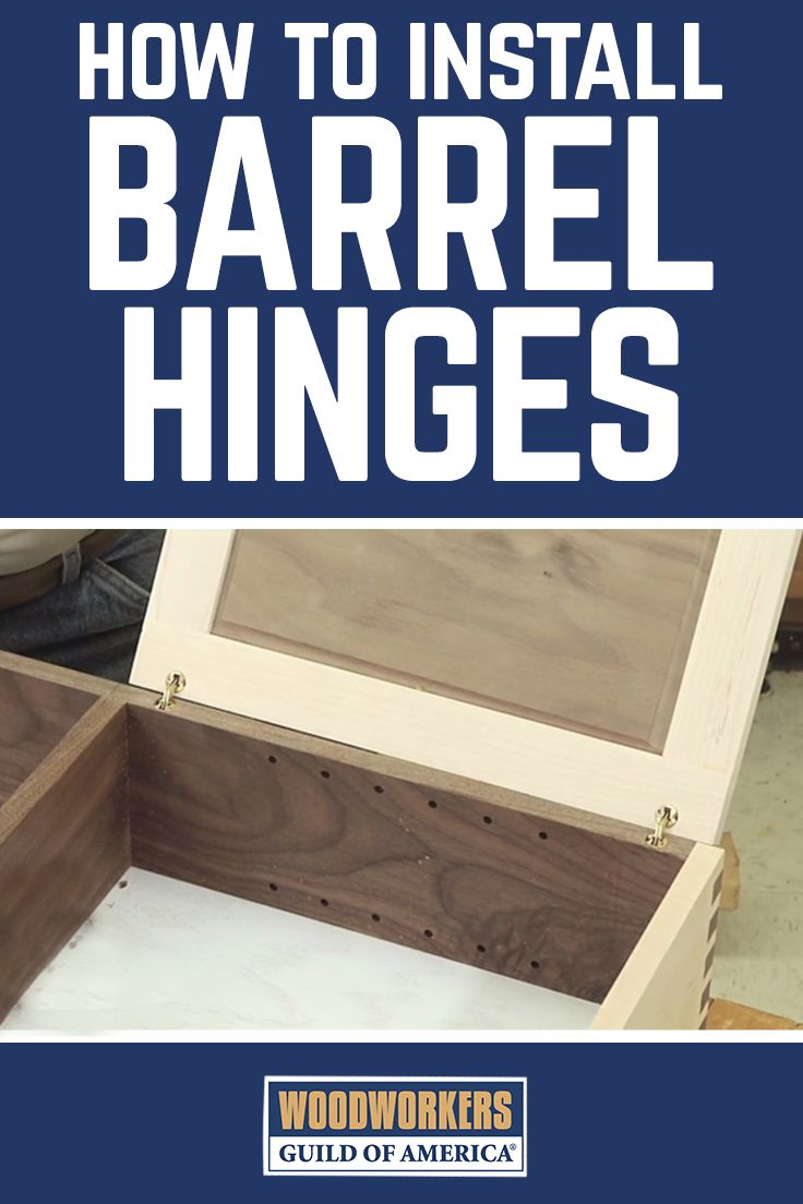 Watch this video and you'll learn how to install invisible barrel hinges. Invisible? Yes, when a door fitted with barrel hinges is closed, you can't see the hinges from the front or the side. Consider installing these disappearing barrel hinges on your next project.