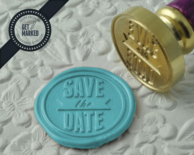 Save the Date - Wax Seal Stamp by Get Marked - Wedding Collection (WS0182).  The stamp is ideal for wedding, engagement party and bridal shower invitations. #GetMarked, #waxsealstamp, #waxseal, #wax, #wedding, #invitation