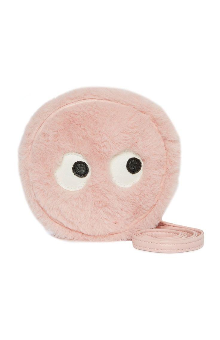 Pluizige roze tas met ogen