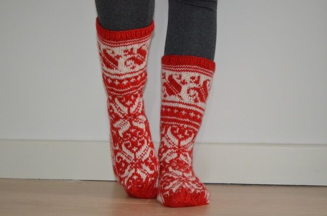 Hand-knitted Red White Wool Socks Scandinavian Floral Christmas £28.00