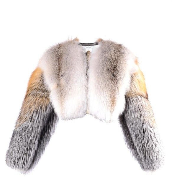 GIVENCHY Cropped fur jacket ($22,275) ❤ liked on Polyvore featuring outerwear, jackets, fur, coats & jackets, coats, light brown, givenchy jacket, givenchy, cropped jacket and white fur jacket
