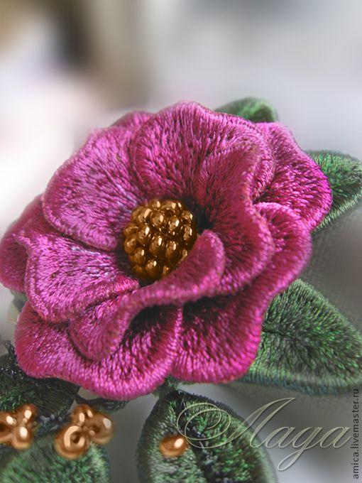 """Купить Брошь.Вышивка. Роза """"Калифорния"""". - брошь, брошка, роза, украшение, небольшая брошь, цветок"""