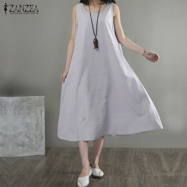 Encontrar Más Vestidos Información acerca de Zanzea marca verano de las mujeres sin mangas del cuello de o algodón vestidos maxis moda suelta color sólido dress robe vestido de festa plus tamaño, alta calidad vestido de festa, China cotton maxi dress Proveedores, barato maxi dress de FASHION-TradeMall en Aliexpress.com