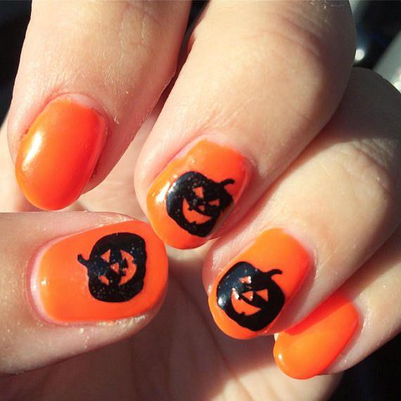 20 jack-o-lantern pumpkin nail decals for Halloween nail art