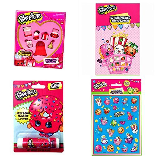 Shopkins Sweetheart Collection Gift Set w/32 Valentine Cards & Tattoos, D'Lish Donut Lip Balm & 100 Shopkins Stickers!