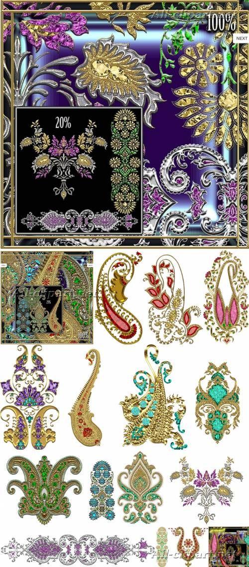 Декоративные золотые элементы на прозрачном фоне | Decor gold elements