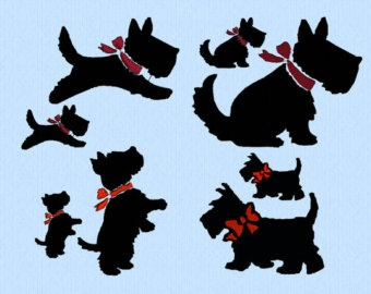 Scottish Terrier dog with bow - Jumping, Sitting, Standing, Walking - 2 sizes - machine embroidery design file