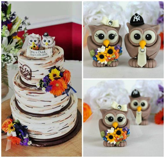 Owl wedding cake topper, wild flowers, woodland wedding, love birds with banner on Etsy, $70.00