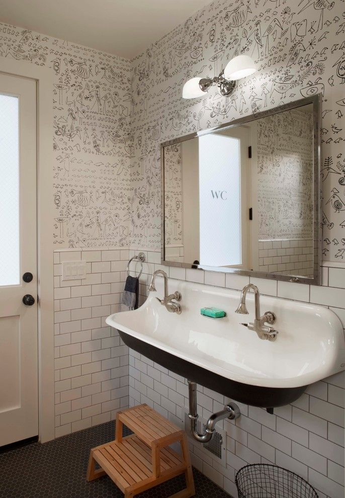 kohler brockway Bathroom Farmhouse with black and white wallpaper black trough…