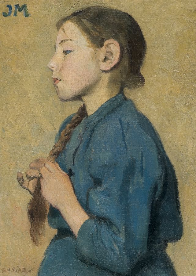 Józef Mehoffer (Polish, 1869-1946) Girl Braiding Her Hair, c.1904. Oil on canvas