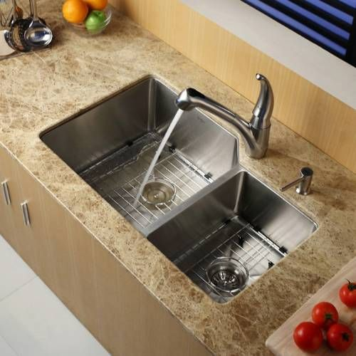 Medium image of kraus khu123 32 32   undermount 60 40 double bowl 16 gauge stainless steel kitchen sink