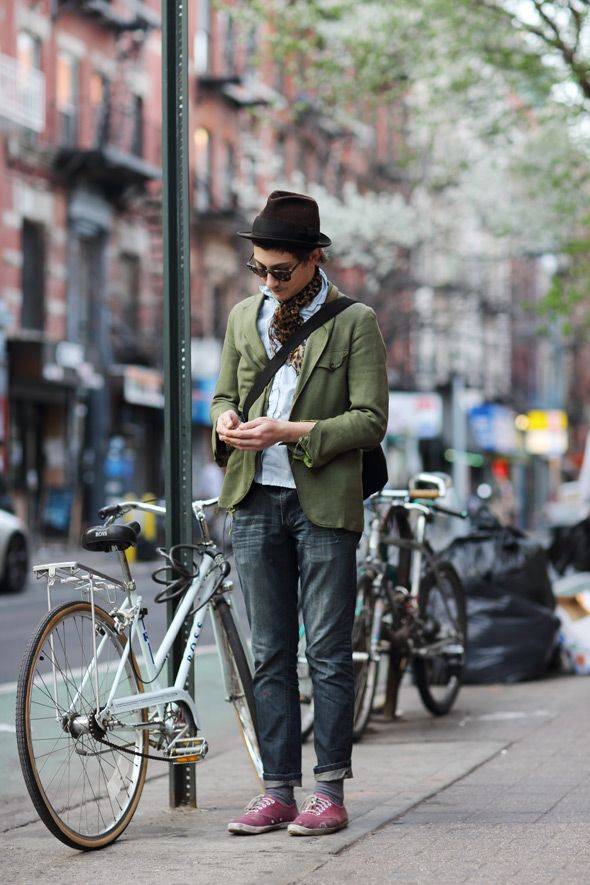 For the upcoming trip: button-down shirt, distressed jeans and a light jacket. Top off with a fedora :)