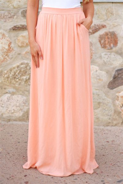 Always On My Mind Maxi Skirt - Peach