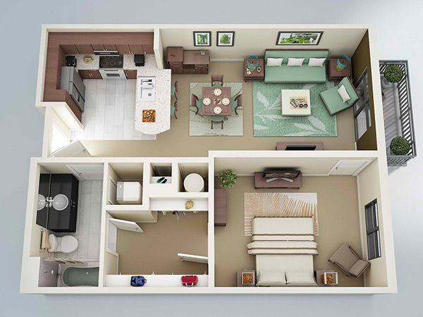 20 One Bedroom Apartment Plans For Singles And Couples Part 85