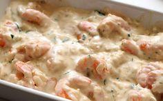 Receita de camarão cremoso delicioso para o prato principal da fase ataque dukan.